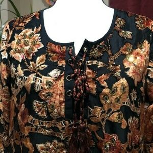 Soft Surroundings Velvet and Embroidery Fall Leaves Top Size Small